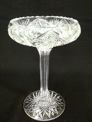"""Antique ABP American Brilliant Hand cut large Crystal Compote 9"""" tall"""