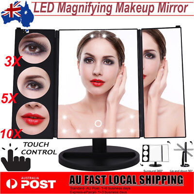 AU 24 LED Light Cosmetic 3X 5X 10X Magnifying Desktop Makeup Mirror Touch Screen