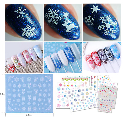 Adesivi Unghie-Nail Water Decals-Snowflakes-FIOCCHI di NEVE-NATALE-Buy 3 Get 4