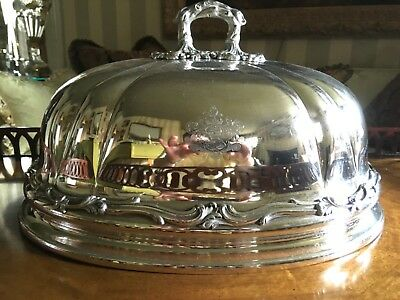 HUGE ANTIQUE ENGLISH OLD SHEFFIELD SILVER PLATE CLOCHE / MEAT DOME, c. 1840