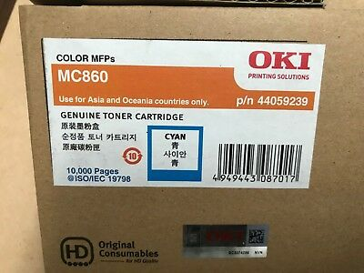 1 x Genuine OKI MC860 Cyan Toner Cartridge