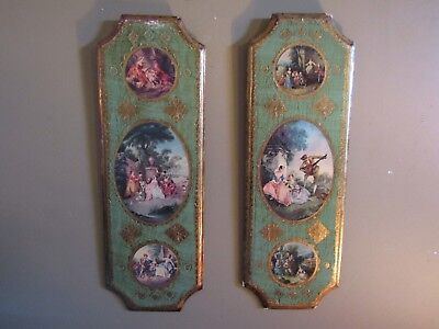 Set of 2 Large Vintage Florentine Gold Gilded Wood Wall Hanging Plaques Italy