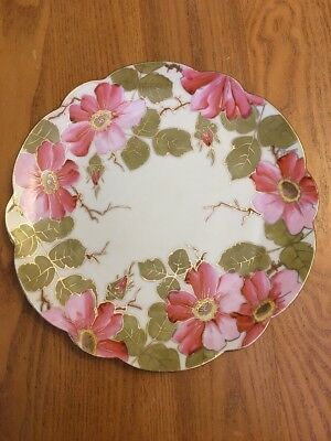 """Vintage Hand Painted Vienna China Austria 8 1/2"""" Plate Pink Flowers Signed"""