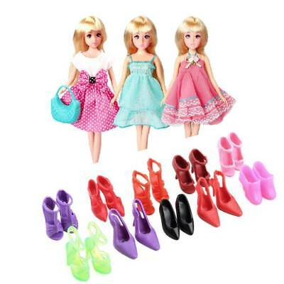 5Pcs Handmade Princess Party Gown Dresses Clothes 10 Shoes Barbie doll