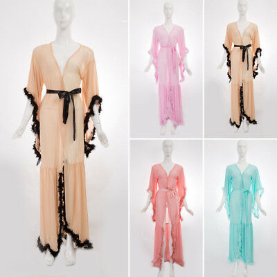 Women's Feather Robe Maxi Dress Gown Wedding Party Bridesmaid Sleepwear Club ~ ~