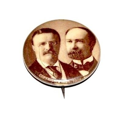 1904 THEODORE ROOSEVELT TEDDY FAIRBANKS campaign pin pinback button political