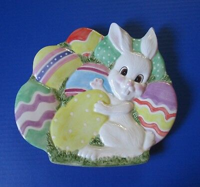 Fitz & Floyd Easter Bunny Canape Plate Dish For Cookies Candies Easter Eggs NEW