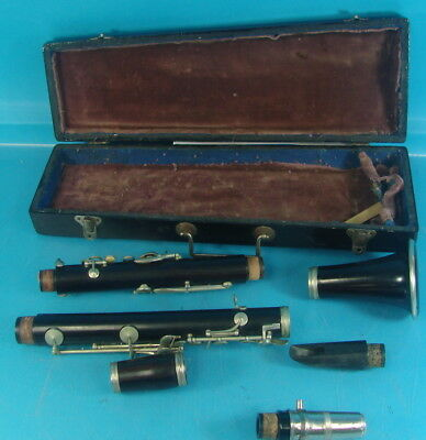 Early Vintage Lecomte & Cib Paris Excelsior Wooden Clarinet W/ Original Case