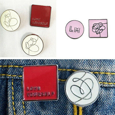 BTS Love Yourself Metal Badge 2018 World Tour Concert Seoul Brooch Pin Props NEW