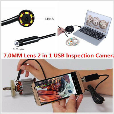 2In1 5M 7mm Android PC 6LED HD USB Endoscope Snake Borescope Inspection Camera