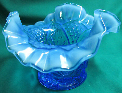 "3 3/8"" High Fluted & Scalloped EAPG Opalescent Candy/Decor Bowl/Vase"