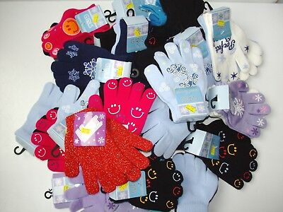 Kids Women Warm Knit Knitted Magic Winter Gloves Stretch Wholesale Lot, 30 pair