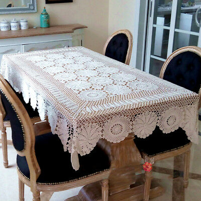 Vintage Tablecloth Handmade Crochet Cotton Table Cover Christmas Party Wedding