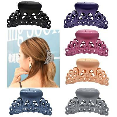 Women Scrub Black Plastic Hair Claw Clip Hollow Out Carving Crab Hair Large Size