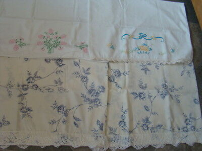 4*vtg. Pillow Cases*(1-Pair- Hand Crocheted Edging<>2 Singles Hand Embroidery)