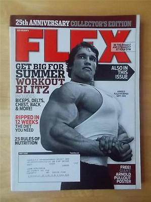 FLEX bodybuilding muscle magazine/Young ARNOLD SCHWARZENEGGER (with poster) 5-08