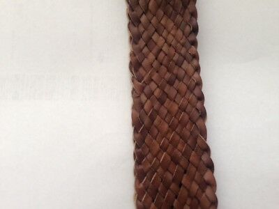 Plaited kangaroo leather belt 3.0 cm wide dark brown. New, made to order.