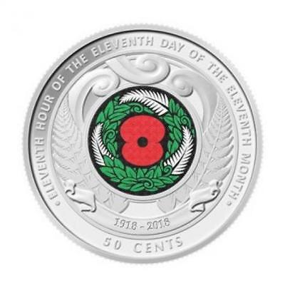 2018 New Zealand Armistice Coloured 50c Coin =UNC from Reserve Bank Roll=