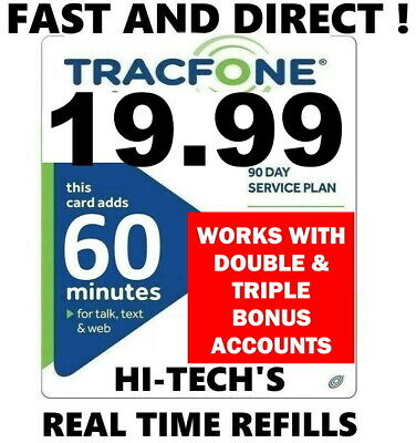 TRACFONE $19.99 90 DAY / 60 MIN DIRECT REFILL > 4000+ customers! > 25YR DEALER <