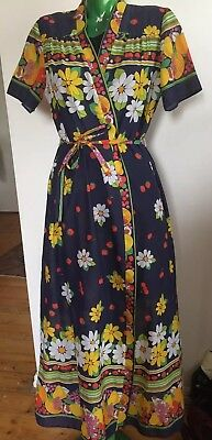 Retro St Michael Floral Housecoat 70's Made In Italy