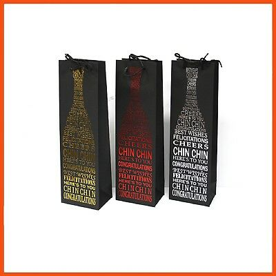 12 x METALLIC GIFT BOTTLE BAGS | Gifts Giving Presents Multi Occasions Wine