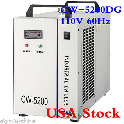 S&A 110V 60HZ CW-5200DG Industrial Water Chiller for 130 / 150W CO2 Laser Tube