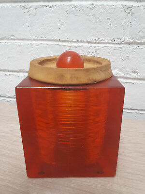 Crystal Craft orange resin kitchen Canister Container Jar Retro Vintage 70's
