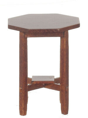 Dollhouse Miniature 1:12 Scale Walnut Mission Octagon Side Table #jj06018Wn