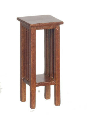 Dollhouse Miniature 1:12 Scale Walnut Mission Tall Square Side Table #jj06020Wn