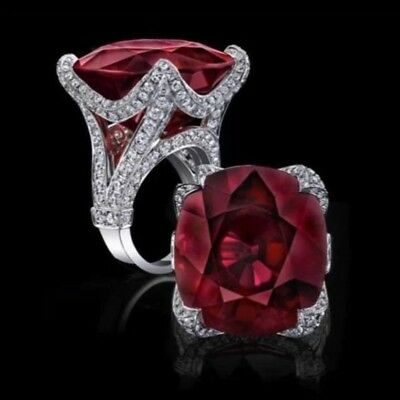 925 Silver Rose Ruby Wedding Engagement Ring Vintage Jewelry Gifts Size 6-10