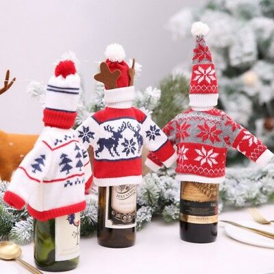 Christmas Santa Red Wine Bottle Cover Bag Elf Knit Sweater Xmas Dinner Decor AU