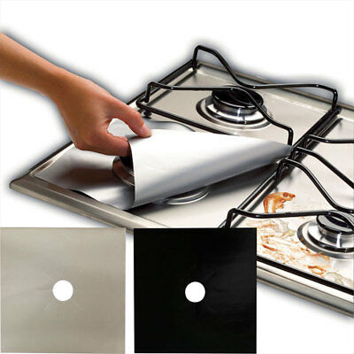4 x Universal Teflon Gas Hob Beige Liner Non Stick Lining Easy Clean Protector