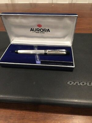 Aurora Ipsilon silver pen sterling Fine nib in mint condition in box B14