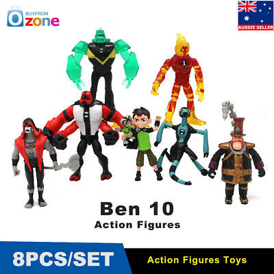 8pcs Ben 10 Action Figures Ben Tennyson Four Arms Grey Matter Heatblast PVC Toys