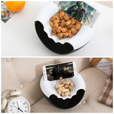 Double-Layer Snacks Fruit Plate Bowl Dish Phone Holder for TV Lazy Utensil WU
