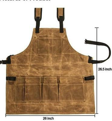 Waxed Canvas Tools Aprons Durable Heavy Duty Adjustable Grill Workshop Carpenter