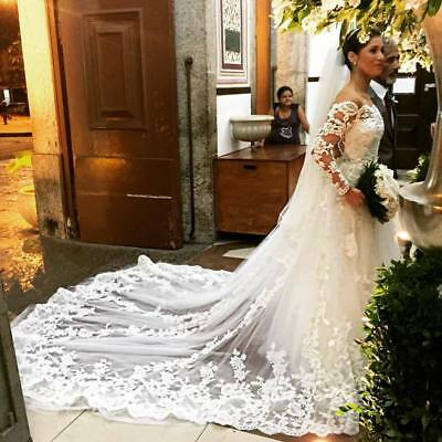 Cathedral Wedding Veils Appliques Lace Bridal Long Length With Comb Ivory White