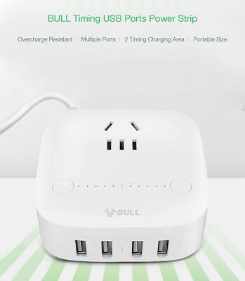 BULL 4 USB Ports & 1 AC Outlet USB Charging Station Timing Charger Power Strip