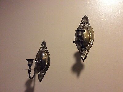 Pair Vintage/Antique Ornate Solid Brass Wall Sconces Candle Holders Pair