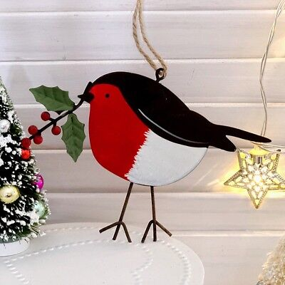 Robin Red With Holly Hand painted Metal Hanging Christmas Tree Home Decoration