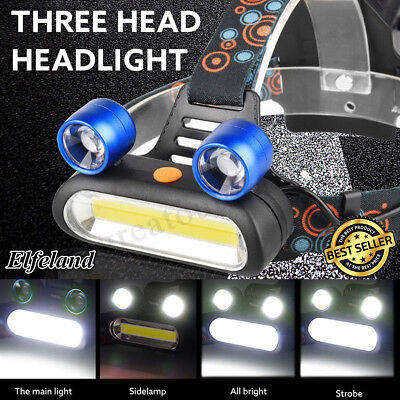 50000LM 2x T6 LED +COB USB Rechargeable 18650 Headlamp Head Light Torch Kits