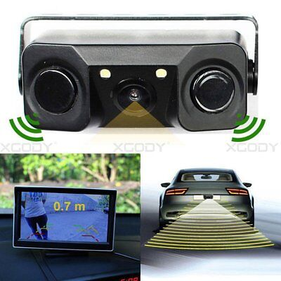 170º Car Reverse Backup Radar Rear View Camera with 3 in 1 Parking Sensor Kit