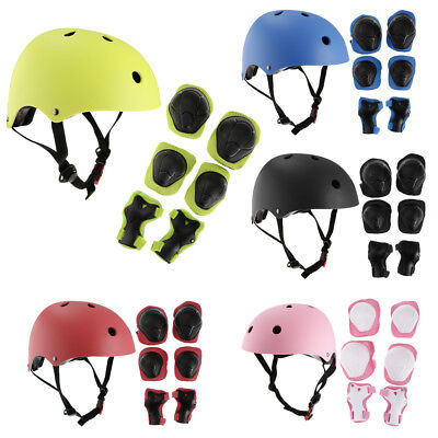 7Pcs Kids Skateboard Skating Helmet Wrist/Knee/Elbow Pad Protective Gear Set