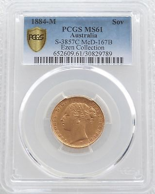 1884-M Australia Victoria Young Head Gold Full Sovereign Coin PCGS MS61