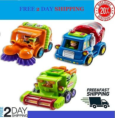 (Set of 3) Push and Go Friction Powered Car Toys for Boys