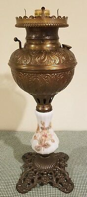 Antique 1800s Victorian Ornate Parlor Banquet GWTW Table Lamp Base Electrified