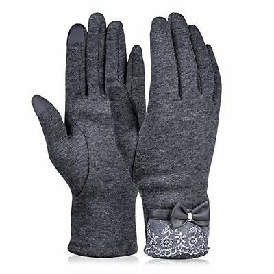 Vbiger Women's Grey Touchscreen Flocking Lace Gloves