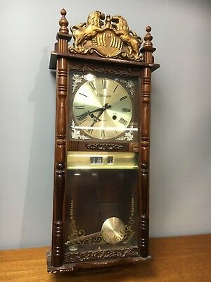 Vintage 31 Day Wall Cabinet Clock LAUR aIN marked Lion Figures + Pendulum