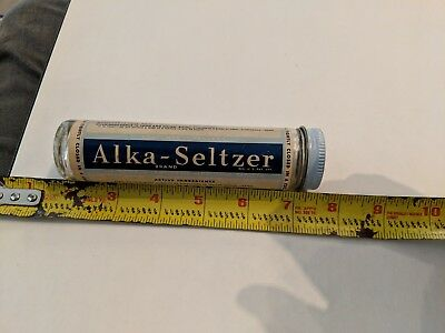 Vintage Alka Seltzer Glass Bottle USA - With Label Used No Tablets Clean label