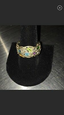 Byzantine Sterling Silver Ring Size 10 With Gemstones